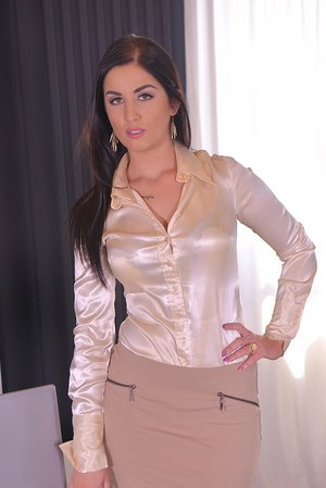 Business Hours: Stunner in Cuffs Dual Torn up in Office
