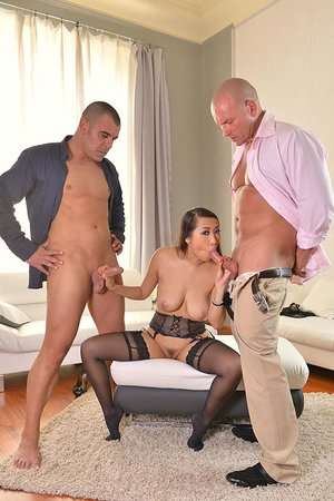 French Asian Hottie's Deep throat and Dp 3some